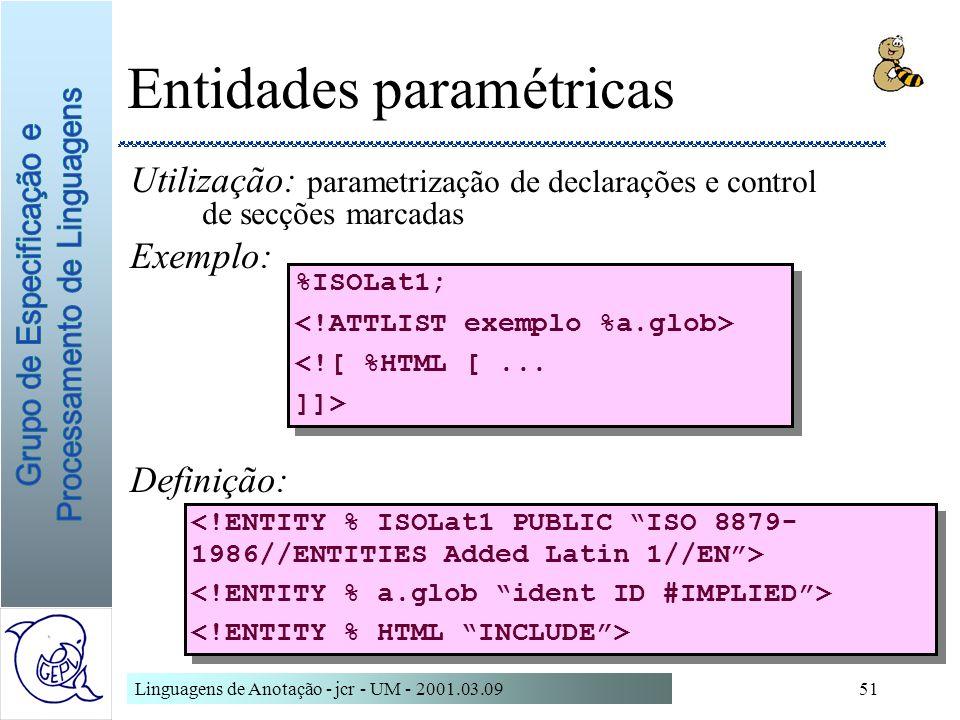 Linguagens de Anotação - jcr - UM - 2001.03.0951 Entidades paramétricas Utilização: parametrização de declarações e control de secções marcadas Exempl