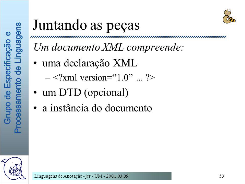 Linguagens de Anotação - jcr - UM - 2001.03.0953 Juntando as peças Um documento XML compreende: uma declaração XML – um DTD (opcional) a instância do