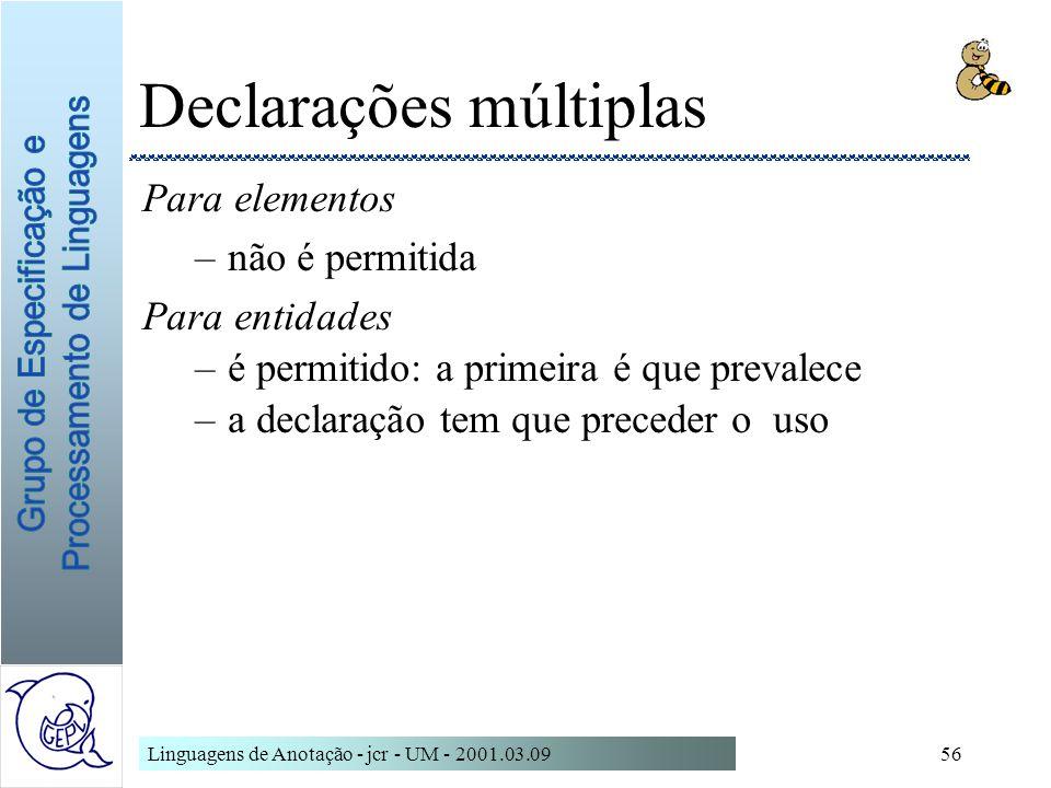 Linguagens de Anotação - jcr - UM - 2001.03.0956 Declarações múltiplas Para elementos –não é permitida Para entidades –é permitido: a primeira é que p