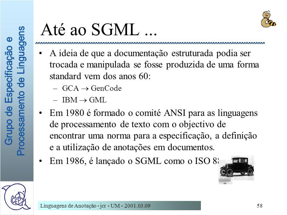 Linguagens de Anotação - jcr - UM - 2001.03.0958 Até ao SGML... A ideia de que a documentação estruturada podia ser trocada e manipulada se fosse prod