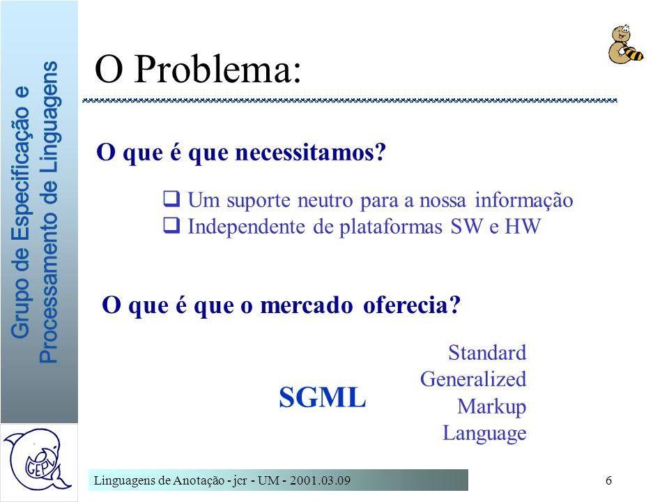 Linguagens de Anotação - jcr - UM - 2001.03.096 O Problema: O que é que necessitamos? O que é que o mercado oferecia? Um suporte neutro para a nossa i
