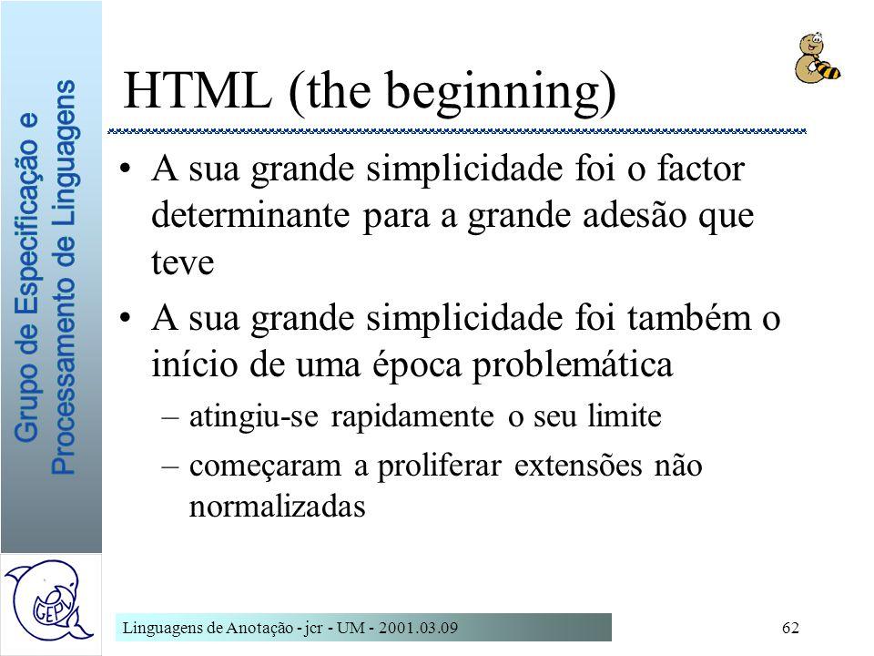 Linguagens de Anotação - jcr - UM - 2001.03.0962 HTML (the beginning) A sua grande simplicidade foi o factor determinante para a grande adesão que tev