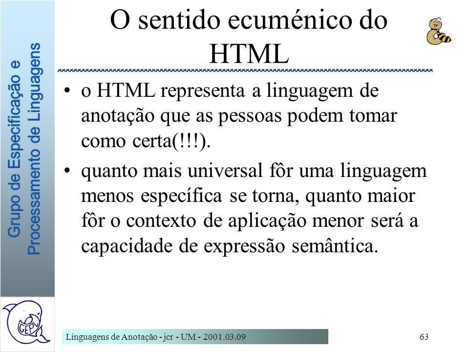 Linguagens de Anotação - jcr - UM - 2001.03.0963 O sentido ecuménico do HTML o HTML representa a linguagem de anotação que as pessoas podem tomar como