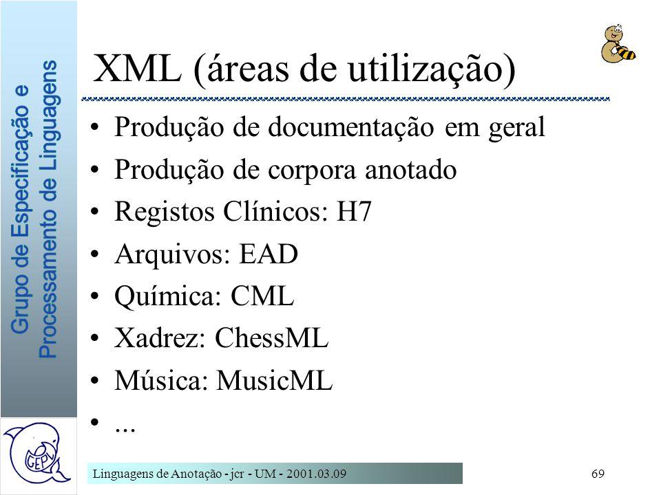 Linguagens de Anotação - jcr - UM - 2001.03.0969 XML (áreas de utilização) Produção de documentação em geral Produção de corpora anotado Registos Clín