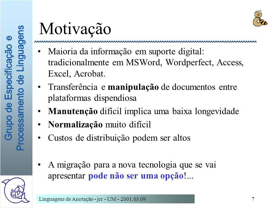 Linguagens de Anotação - jcr - UM - 2001.03.097 Motivação Maioria da informação em suporte digital: tradicionalmente em MSWord, Wordperfect, Access, E