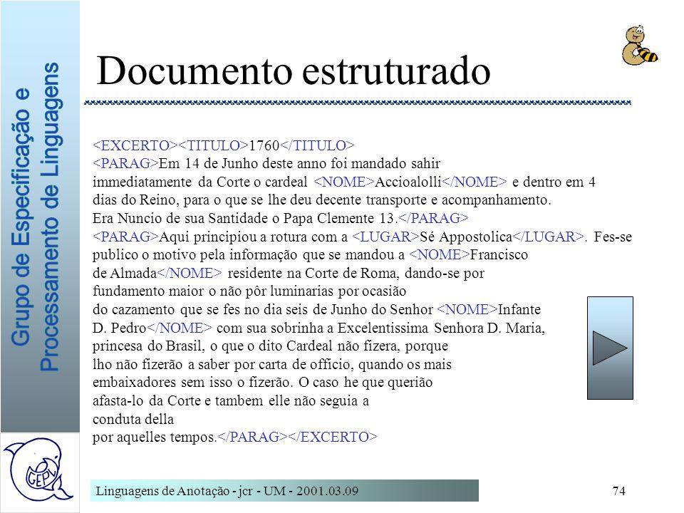 Linguagens de Anotação - jcr - UM - 2001.03.0974 Documento estruturado 1760 Em 14 de Junho deste anno foi mandado sahir immediatamente da Corte o card