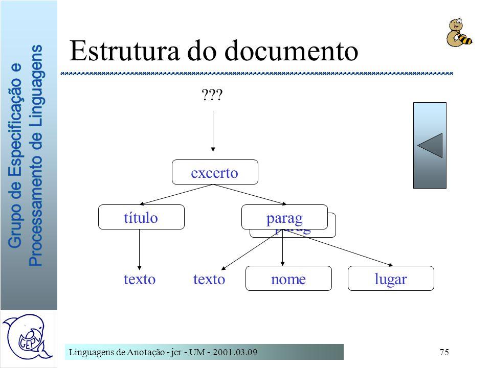 Linguagens de Anotação - jcr - UM - 2001.03.0975 Estrutura do documento parag excerto títuloparag nomelugar texto ???