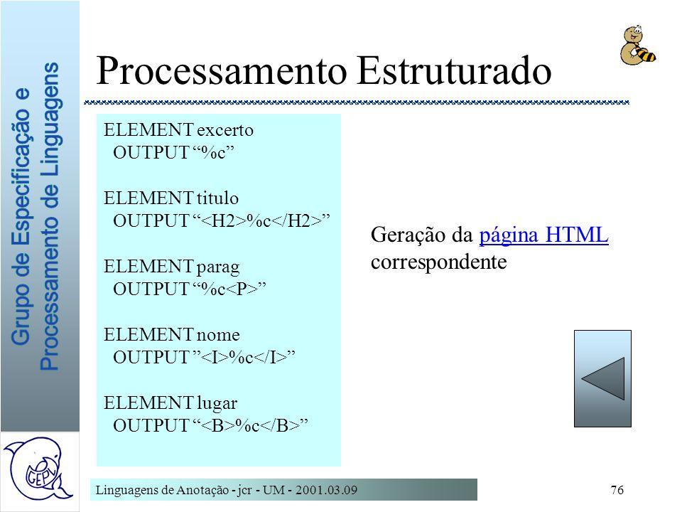 Linguagens de Anotação - jcr - UM - 2001.03.0976 Processamento Estruturado ELEMENT excerto OUTPUT %c ELEMENT titulo OUTPUT %c ELEMENT parag OUTPUT %c