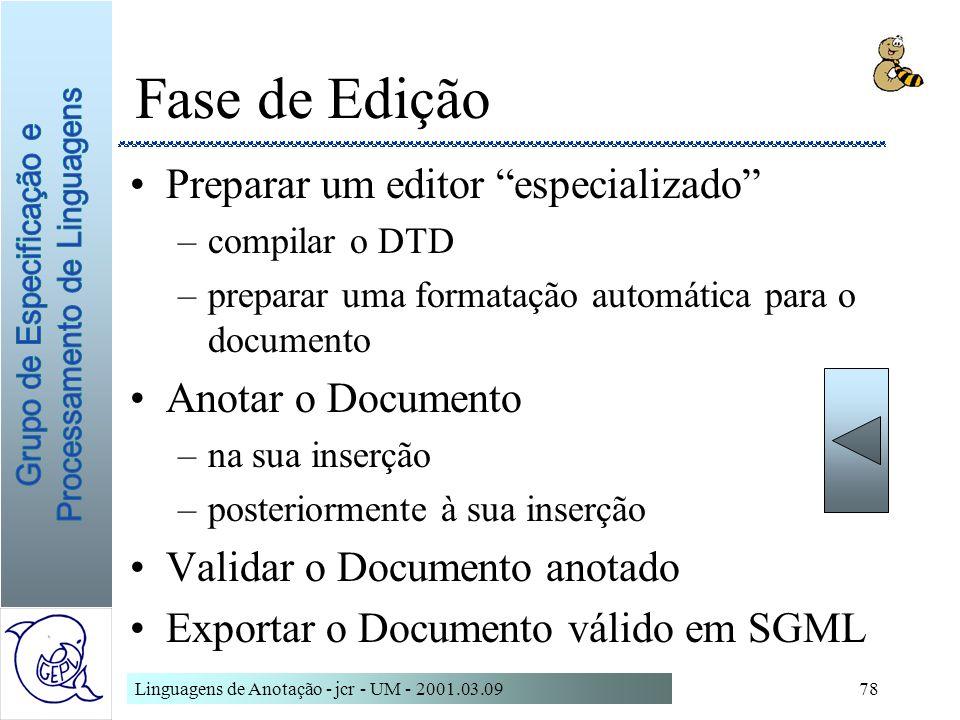 Linguagens de Anotação - jcr - UM - 2001.03.0978 Fase de Edição Preparar um editor especializado –compilar o DTD –preparar uma formatação automática p