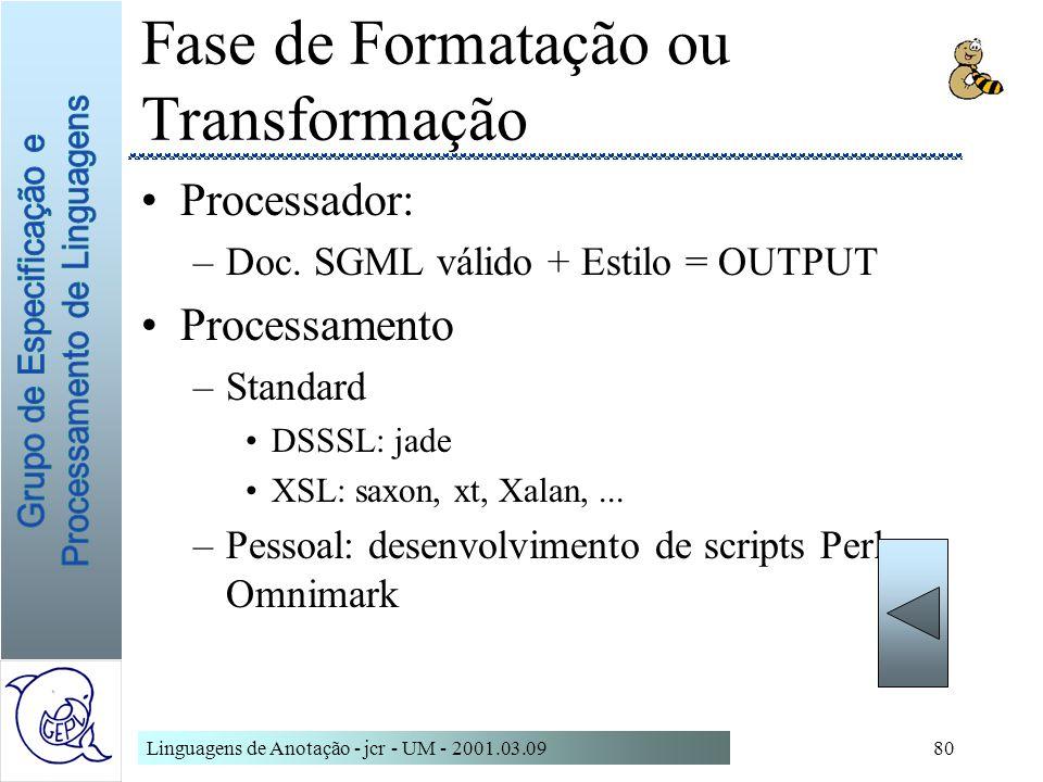 Linguagens de Anotação - jcr - UM - 2001.03.0980 Fase de Formatação ou Transformação Processador: –Doc. SGML válido + Estilo = OUTPUT Processamento –S