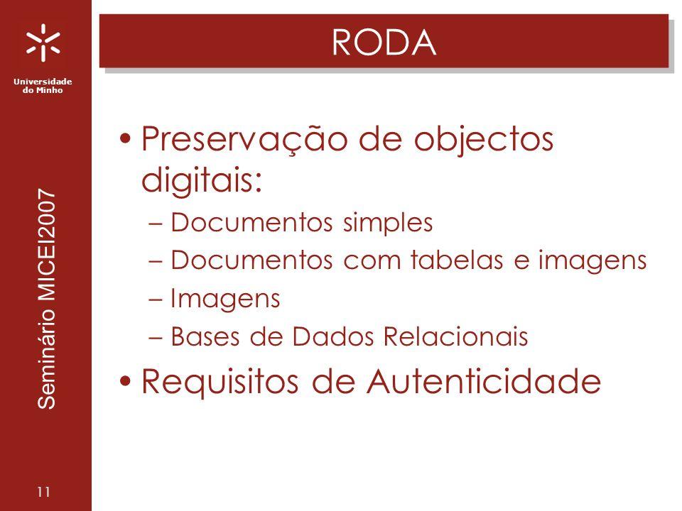 Universidade do Minho Seminário MICEI2007 11 RODA Preservação de objectos digitais: –Documentos simples –Documentos com tabelas e imagens –Imagens –Bases de Dados Relacionais Requisitos de Autenticidade