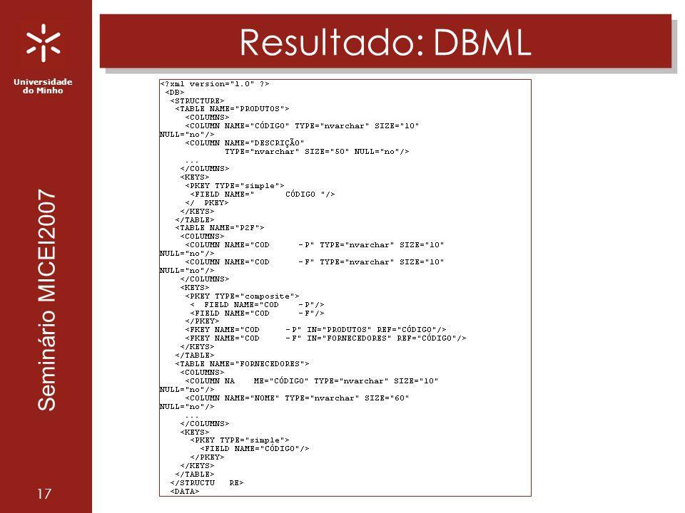 Universidade do Minho Seminário MICEI2007 17 Resultado: DBML