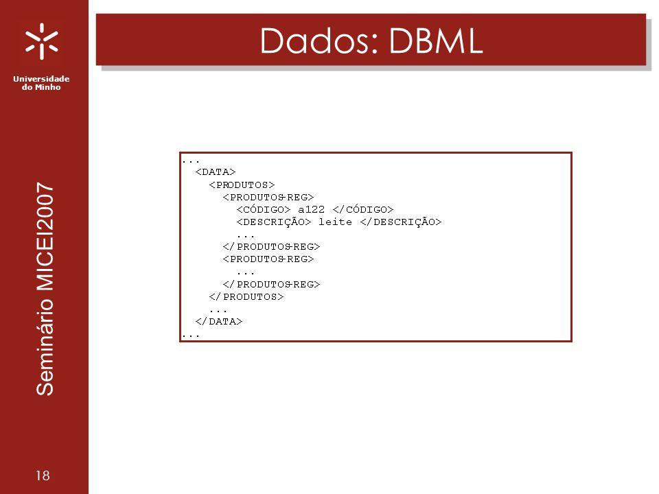 Universidade do Minho Seminário MICEI2007 18 Dados: DBML