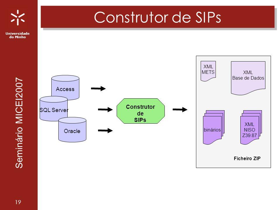 Universidade do Minho Seminário MICEI2007 19 Construtor de SIPs Construtor de SIPs Ficheiro ZIP XML METS binários XML Base de Dados XML NISO Z39.87 Access SQL Server Oracle