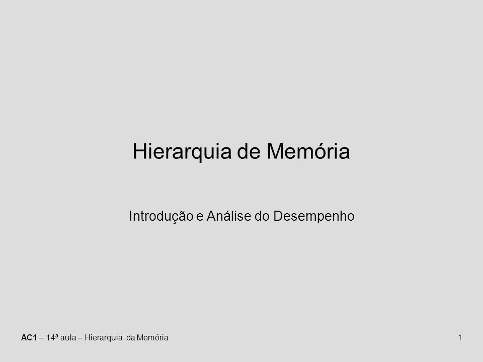 AC1 – 14ª aula – Hierarquia da Memória1 Hierarquia de Memória Introdução e Análise do Desempenho