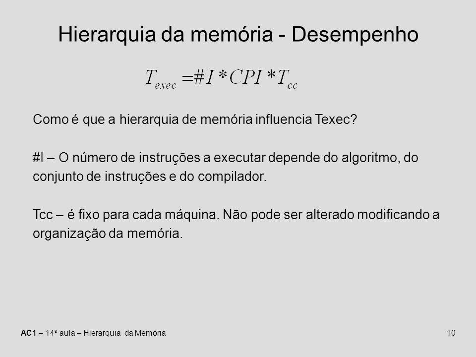 AC1 – 14ª aula – Hierarquia da Memória10 Hierarquia da memória - Desempenho Como é que a hierarquia de memória influencia Texec? #I – O número de inst