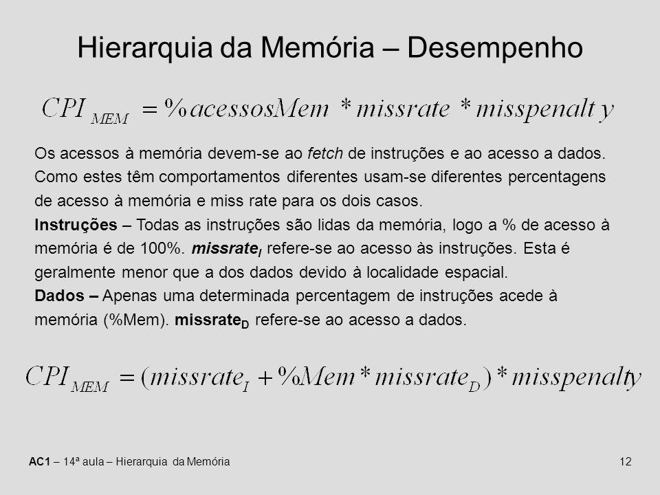 AC1 – 14ª aula – Hierarquia da Memória12 Hierarquia da Memória – Desempenho Os acessos à memória devem-se ao fetch de instruções e ao acesso a dados.