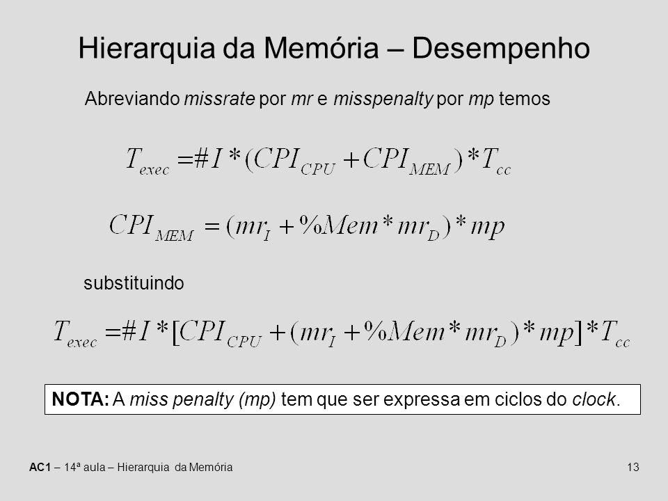 AC1 – 14ª aula – Hierarquia da Memória13 Hierarquia da Memória – Desempenho Abreviando missrate por mr e misspenalty por mp temos substituindo NOTA: A