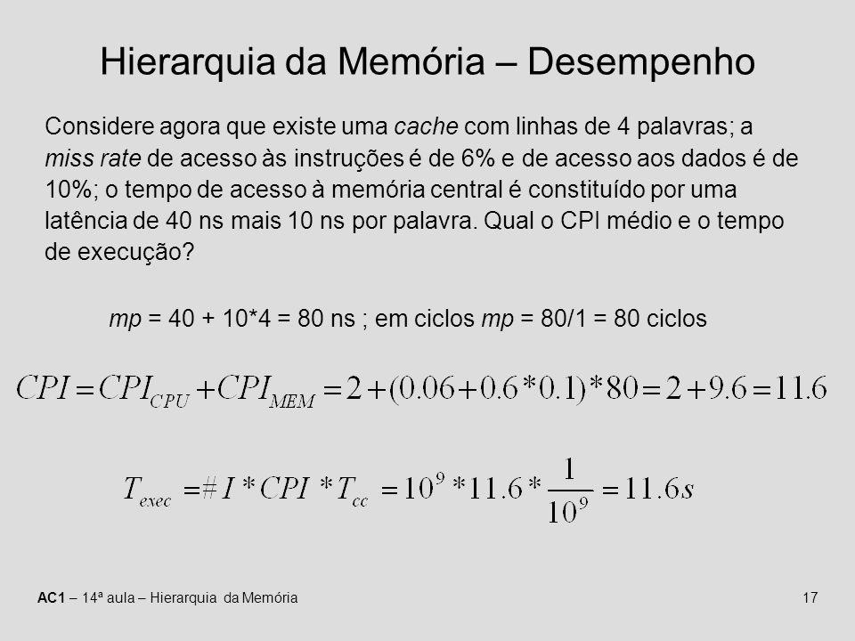 AC1 – 14ª aula – Hierarquia da Memória17 Hierarquia da Memória – Desempenho Considere agora que existe uma cache com linhas de 4 palavras; a miss rate