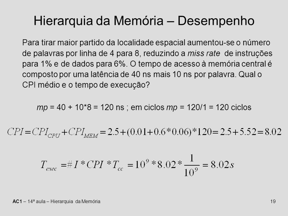 AC1 – 14ª aula – Hierarquia da Memória19 Hierarquia da Memória – Desempenho Para tirar maior partido da localidade espacial aumentou-se o número de pa