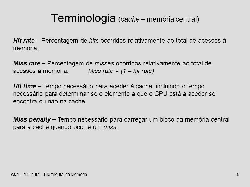 AC1 – 14ª aula – Hierarquia da Memória9 Terminologia (cache – memória central) Hit rate – Percentagem de hits ocorridos relativamente ao total de aces