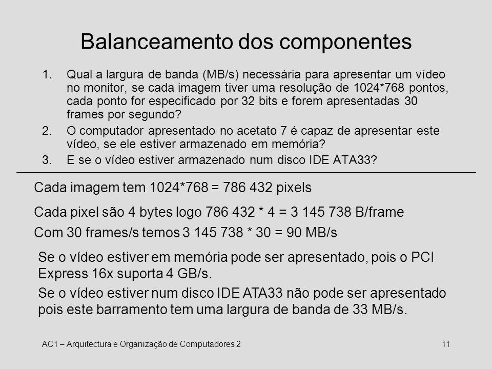 AC1 – Arquitectura e Organização de Computadores 212 Balanceamento de componentes 1.Qual a especificação do barramento PCI (33MHz/32bits, 33MHz/64bits, 66MHz/64 bits) necessária para tirar partido de uma placa de rede de alta velocidade Myrinet, que encaixa neste barramento e transmite dados a 2.0 Gb/s.