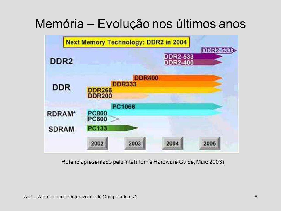 AC1 – Arquitectura e Organização de Computadores 27 Processadores NomeCoreClockFSBHTL1L2L3 Pentium 4 HT 13.2, 3.4,3.6, 3.8 GHz 800/1066 MHz S16KUp to 1M Up to 2M Core 2 Extreme 22,93 GHz1066 MHz2 x 16K Up to 4 MB