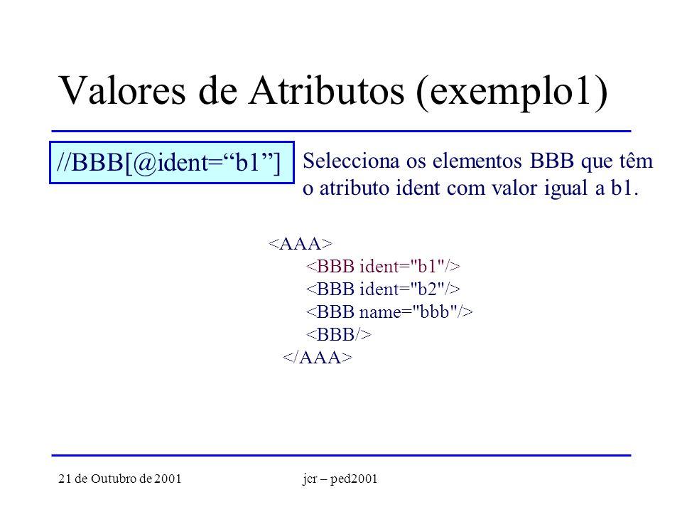 21 de Outubro de 2001jcr – ped2001 Valores de Atributos (exemplo1) //BBB[@ident=b1] Selecciona os elementos BBB que têm o atributo ident com valor igu