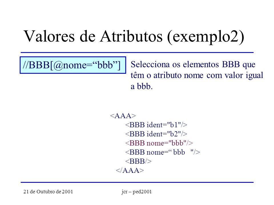 21 de Outubro de 2001jcr – ped2001 Valores de Atributos (exemplo2) //BBB[@nome=bbb] Selecciona os elementos BBB que têm o atributo nome com valor igual a bbb.