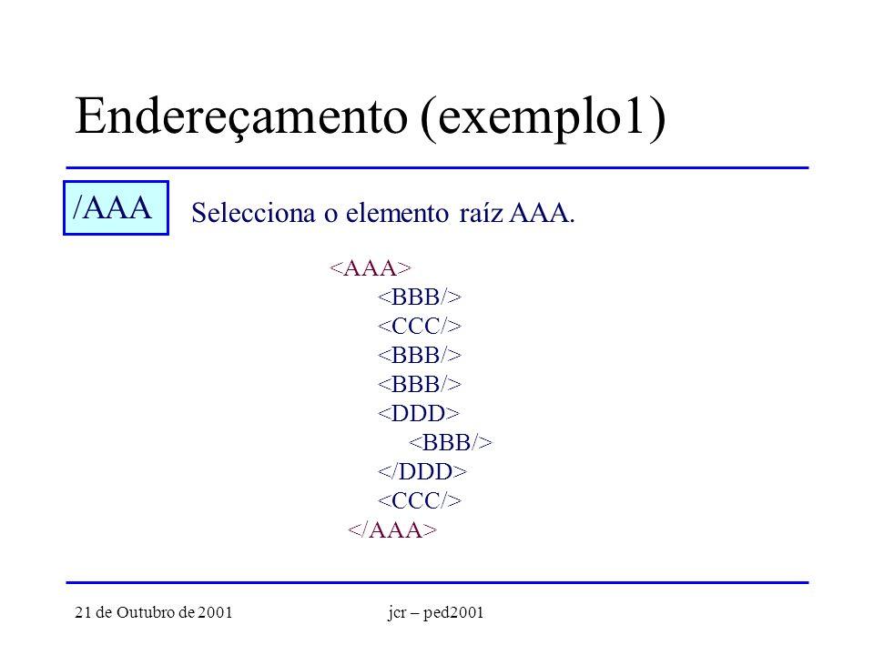 21 de Outubro de 2001jcr – ped2001 Endereçamento (exemplo1) /AAA Selecciona o elemento raíz AAA.