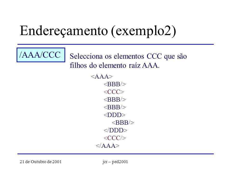 21 de Outubro de 2001jcr – ped2001 Endereçamento (exemplo2) /AAA/CCC Selecciona os elementos CCC que são filhos do elemento raíz AAA.