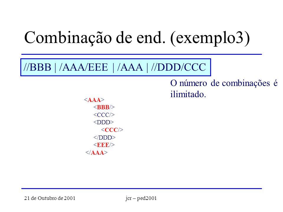 21 de Outubro de 2001jcr – ped2001 Combinação de end. (exemplo3) //BBB | /AAA/EEE | /AAA | //DDD/CCC O número de combinações é ilimitado.