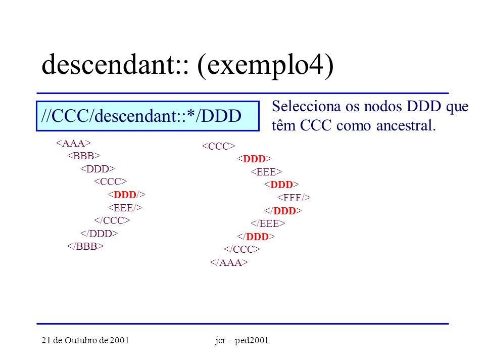 21 de Outubro de 2001jcr – ped2001 descendant:: (exemplo4) Selecciona os nodos DDD que têm CCC como ancestral. //CCC/descendant::*/DDD