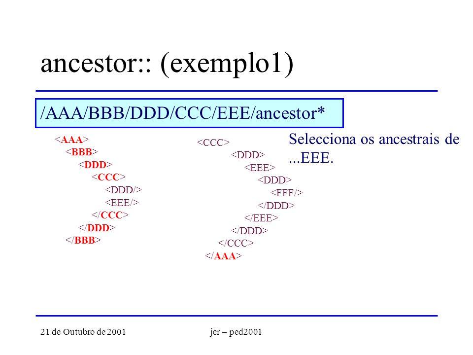 21 de Outubro de 2001jcr – ped2001 ancestor:: (exemplo1) Selecciona os ancestrais de...EEE. /AAA/BBB/DDD/CCC/EEE/ancestor*