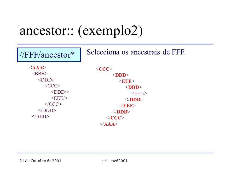21 de Outubro de 2001jcr – ped2001 ancestor:: (exemplo2) Selecciona os ancestrais de FFF.