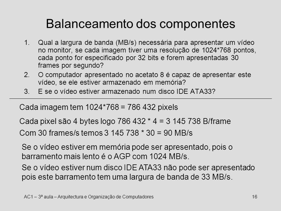 AC1 – 3ª aula – Arquitectura e Organização de Computadores15 Balanceamento CPU-memória Imagine um CPU com uma frequência de 2 GHz, a executar uma inst