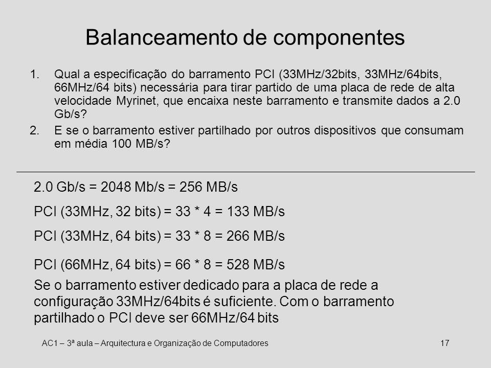 AC1 – 3ª aula – Arquitectura e Organização de Computadores16 Balanceamento dos componentes 1.Qual a largura de banda (MB/s) necessária para apresentar