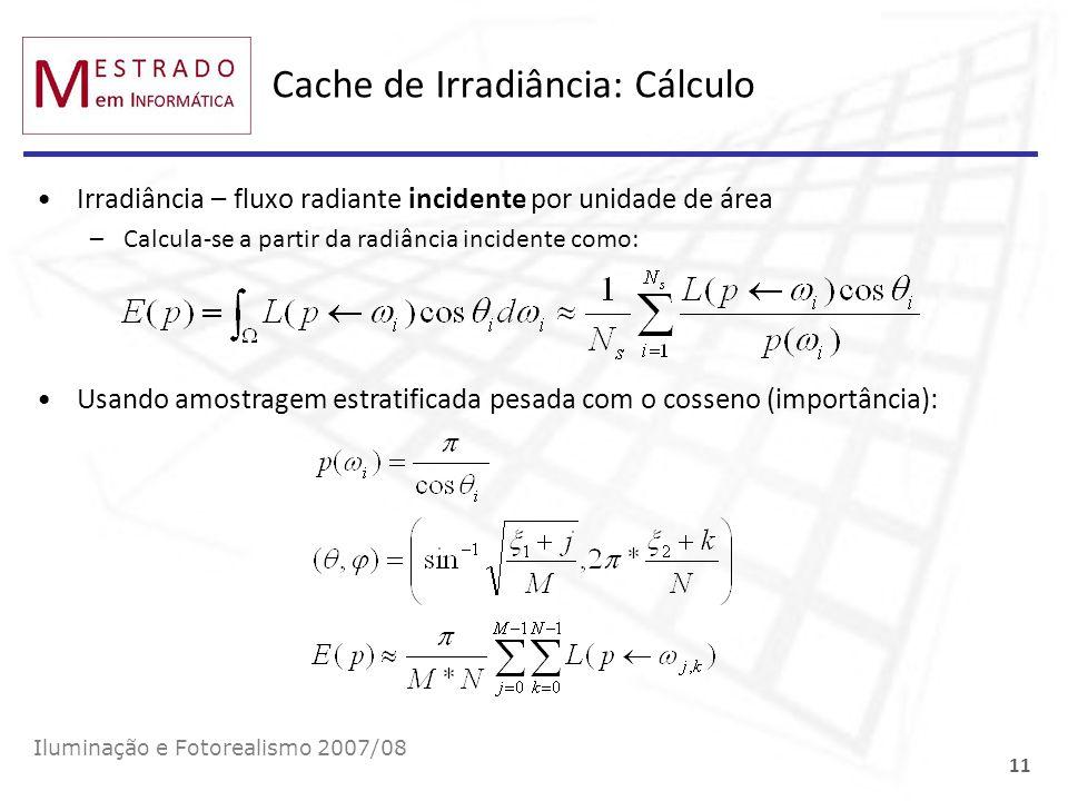 Cache de Irradiância: Cálculo Irradiância – fluxo radiante incidente por unidade de área –Calcula-se a partir da radiância incidente como: Iluminação