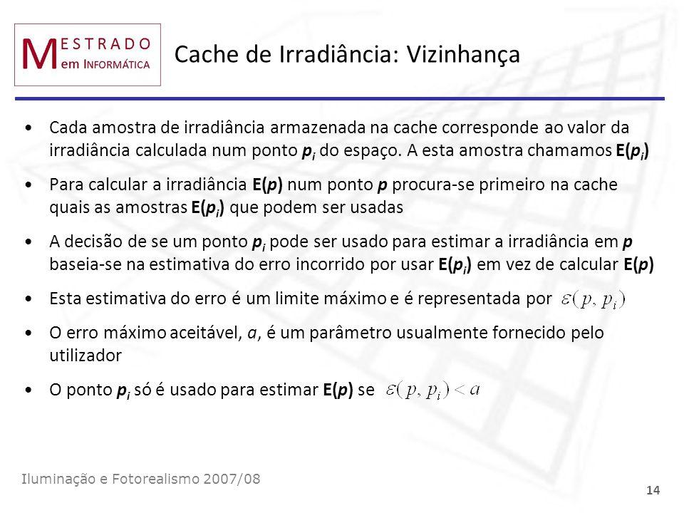 Cache de Irradiância: Vizinhança Cada amostra de irradiância armazenada na cache corresponde ao valor da irradiância calculada num ponto p i do espaço
