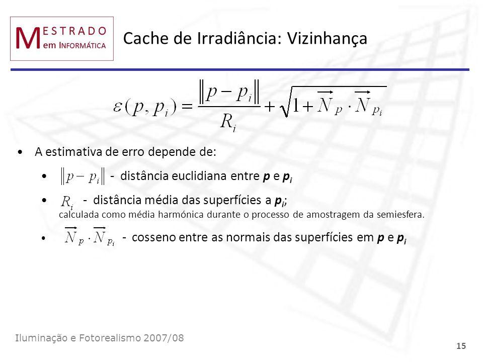 Cache de Irradiância: Vizinhança Iluminação e Fotorealismo 2007/08 15 A estimativa de erro depende de: - distância euclidiana entre p e p i - distânci