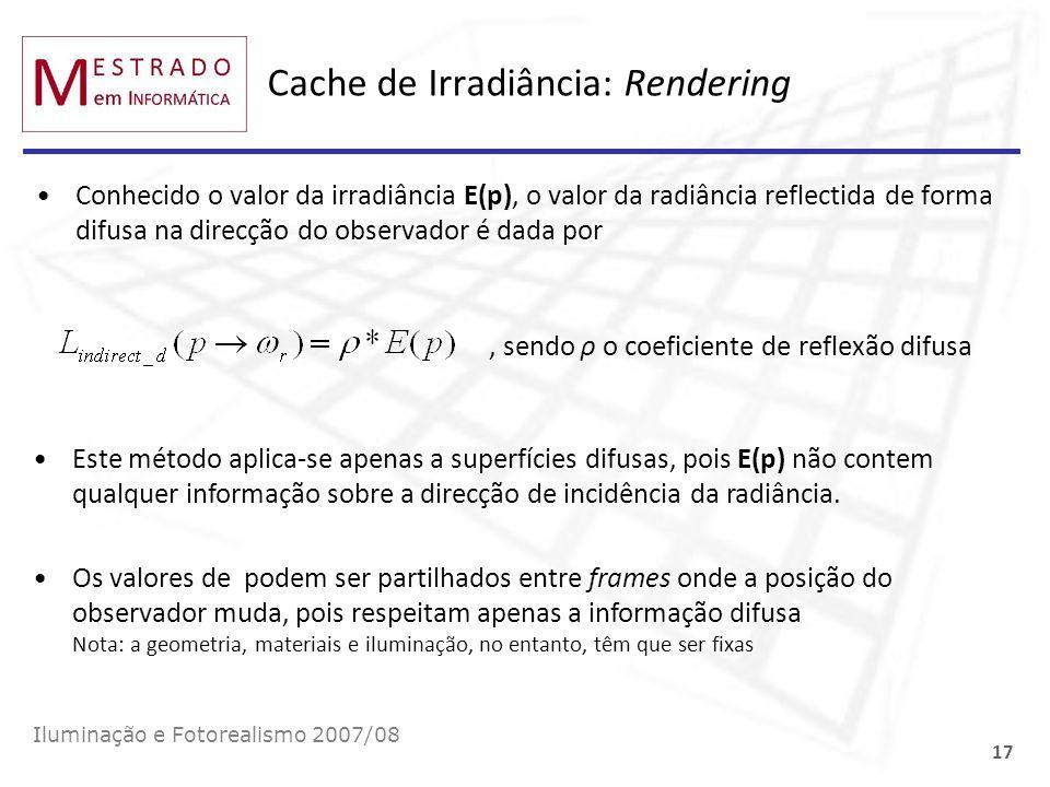 Cache de Irradiância: Rendering Conhecido o valor da irradiância E(p), o valor da radiância reflectida de forma difusa na direcção do observador é dad