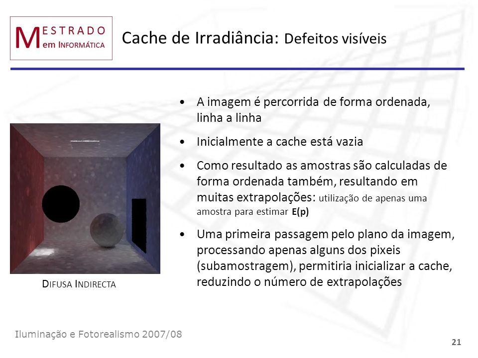 Cache de Irradiância: Defeitos visíveis A imagem é percorrida de forma ordenada, linha a linha Inicialmente a cache está vazia Como resultado as amost