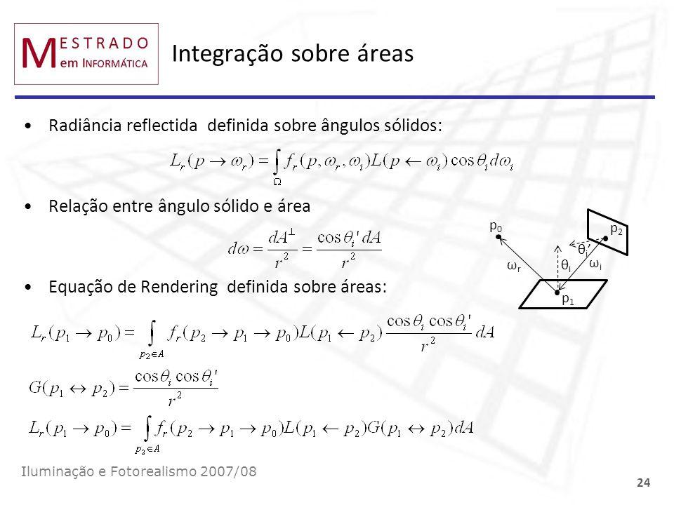 Integração sobre áreas Radiância reflectida definida sobre ângulos sólidos: Relação entre ângulo sólido e área Equação de Rendering definida sobre áre