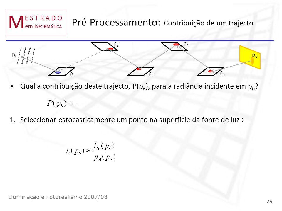Pré-Processamento: Contribuição de um trajecto Qual a contribuição deste trajecto, P(p 6 ), para a radiância incidente em p 0 ? 1.Seleccionar estocast