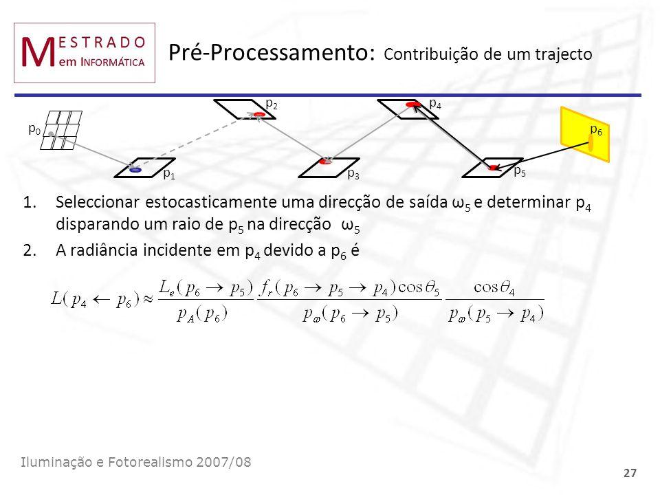 Pré-Processamento: Contribuição de um trajecto Iluminação e Fotorealismo 2007/08 27 p0p0 p1p1 p3p3 p5p5 p6p6 1.Seleccionar estocasticamente uma direcç