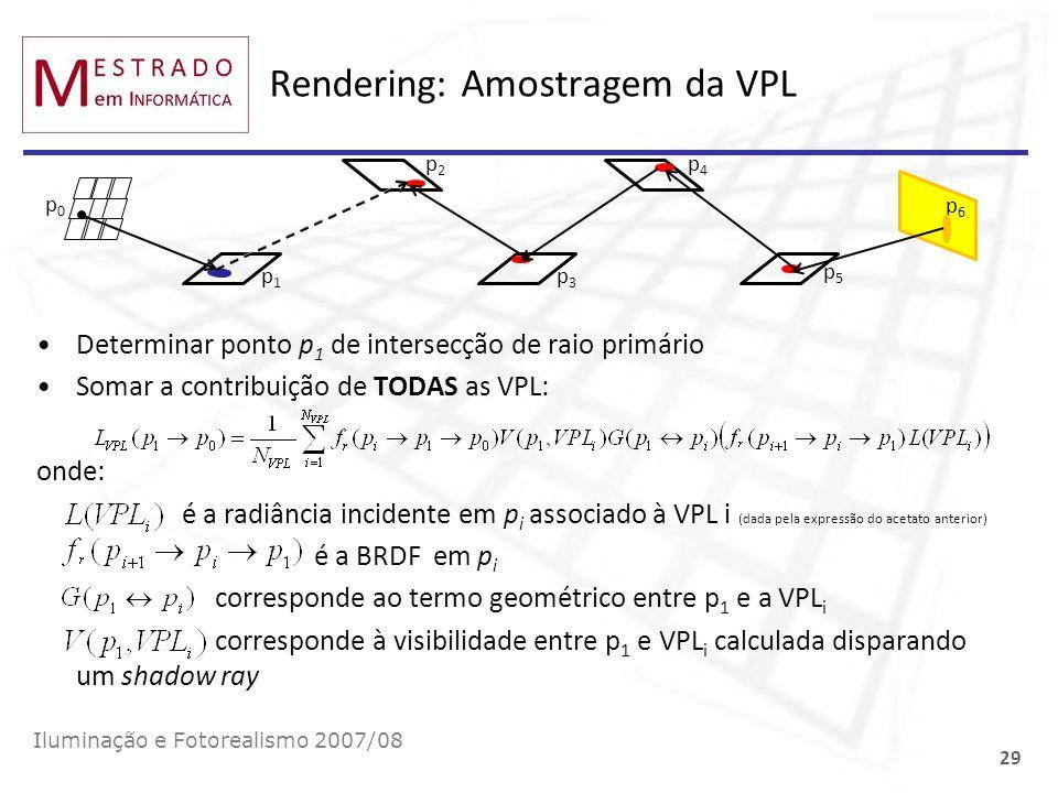 Rendering: Amostragem da VPL Determinar ponto p 1 de intersecção de raio primário Somar a contribuição de TODAS as VPL: onde: é a radiância incidente