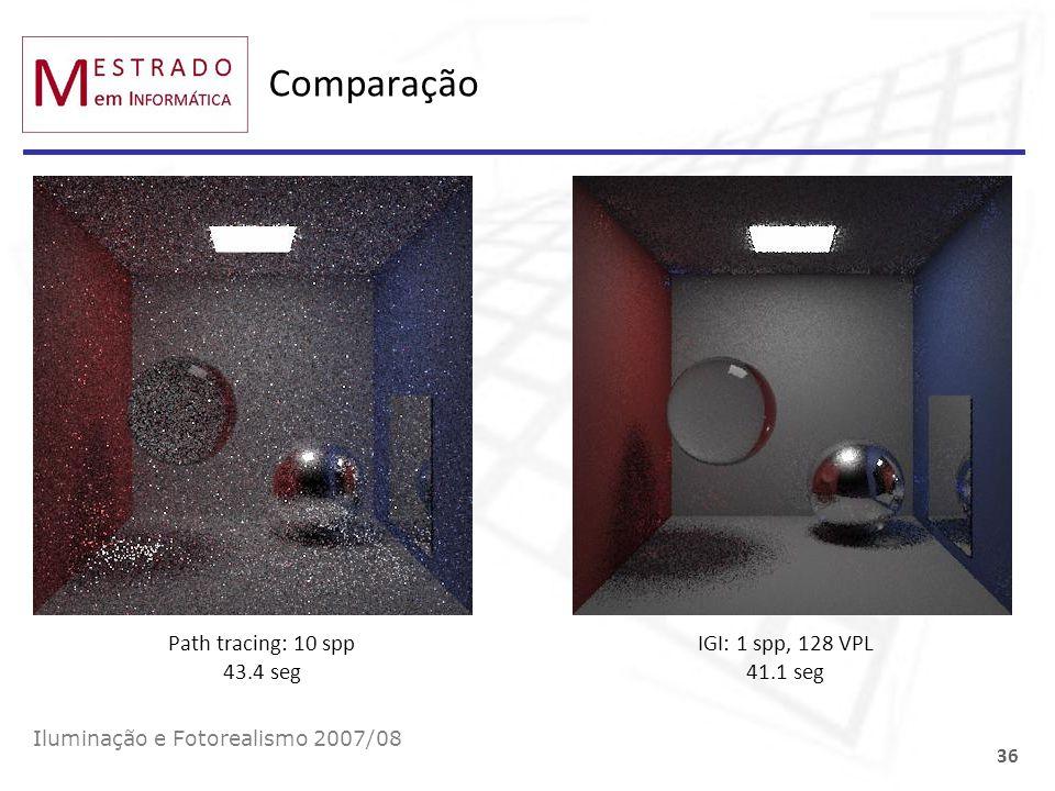 Comparação Iluminação e Fotorealismo 2007/08 36 Path tracing: 10 spp 43.4 seg IGI: 1 spp, 128 VPL 41.1 seg