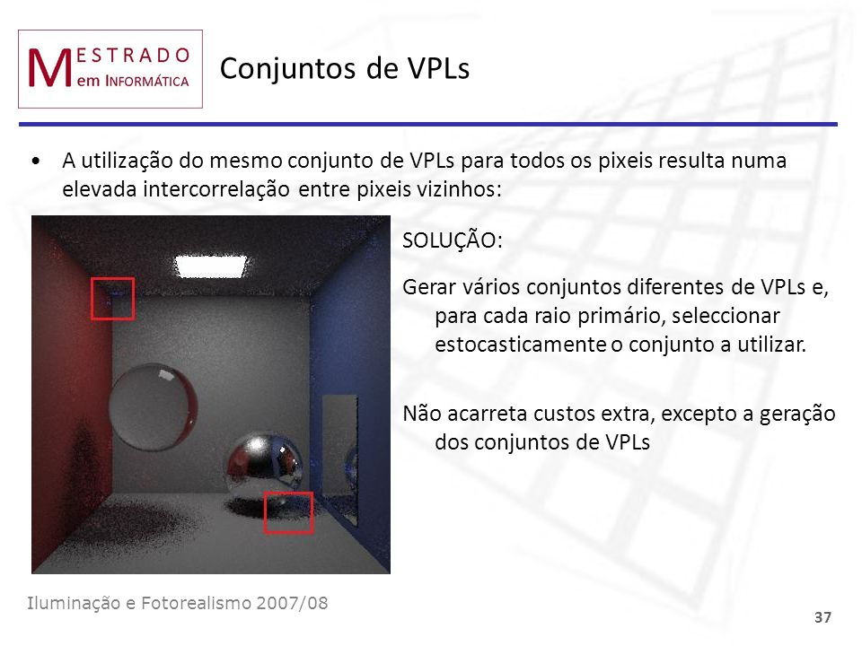 Conjuntos de VPLs A utilização do mesmo conjunto de VPLs para todos os pixeis resulta numa elevada intercorrelação entre pixeis vizinhos: Iluminação e