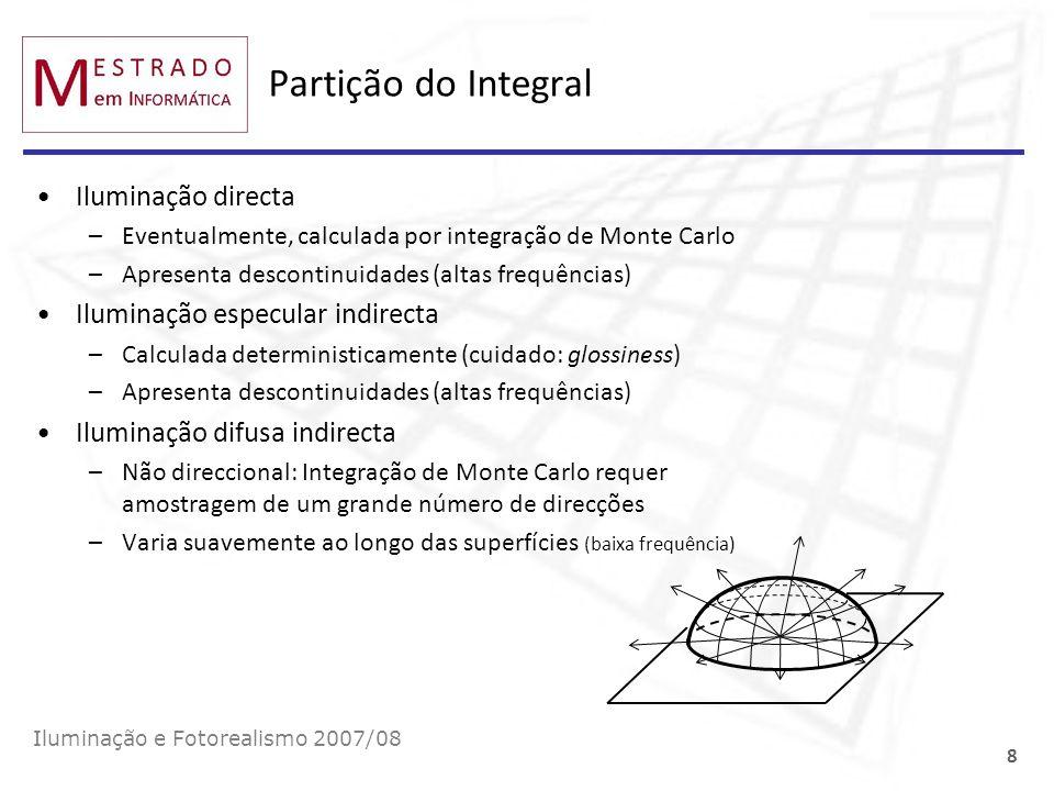 Partição do Integral Iluminação directa –Eventualmente, calculada por integração de Monte Carlo –Apresenta descontinuidades (altas frequências) Ilumin