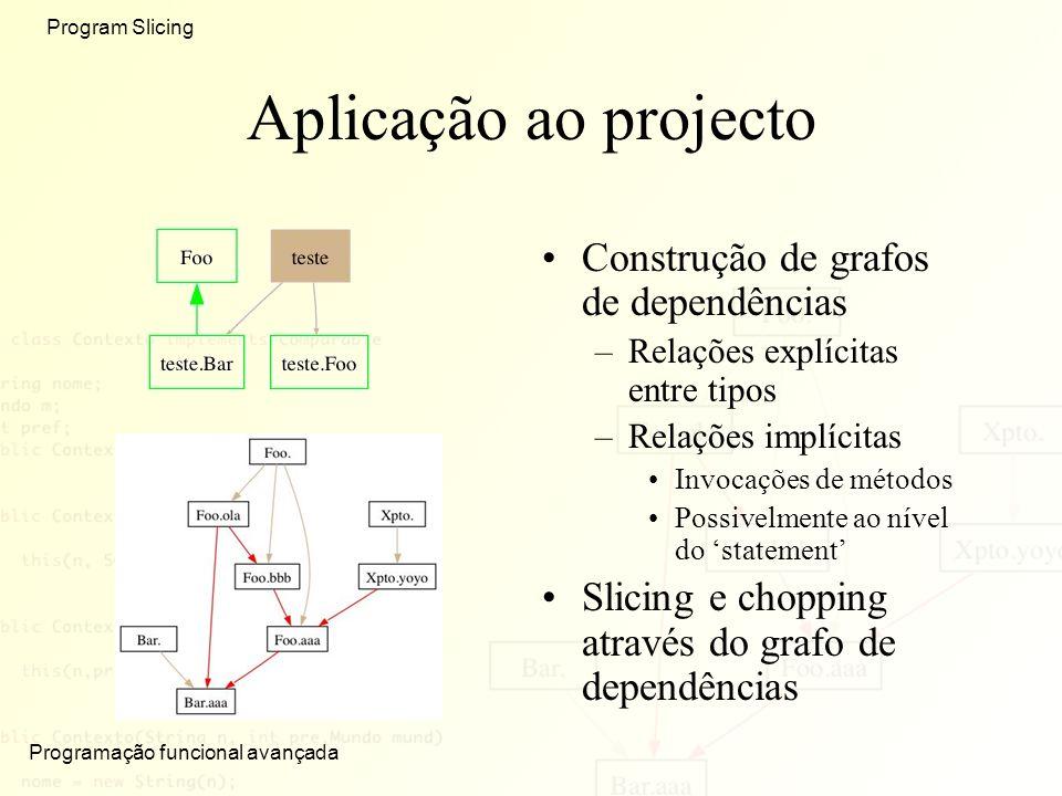 Programação funcional avançada Program Slicing Aplicação ao projecto Construção de grafos de dependências –Relações explícitas entre tipos –Relações implícitas Invocações de métodos Possivelmente ao nível do statement Slicing e chopping através do grafo de dependências